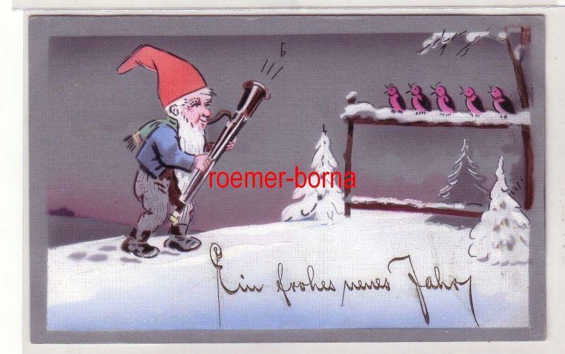 79350 Künstler Ak Neujahr Zwerg musiziert mit Vögeln um 1930