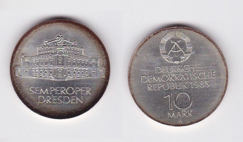 DDR Gedenk Münze 10 Mark Semperoper Dresden 1985 (119975)