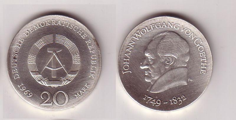 DDR Gedenk Münze 20 Mark Johann Wofgang Goethe 1969 (114134)