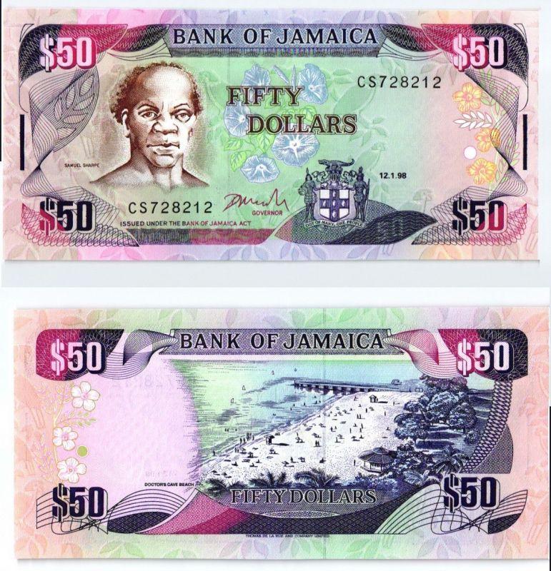 50 Dollars Banknote Jamaika 1998 kassenfrisch (123814)