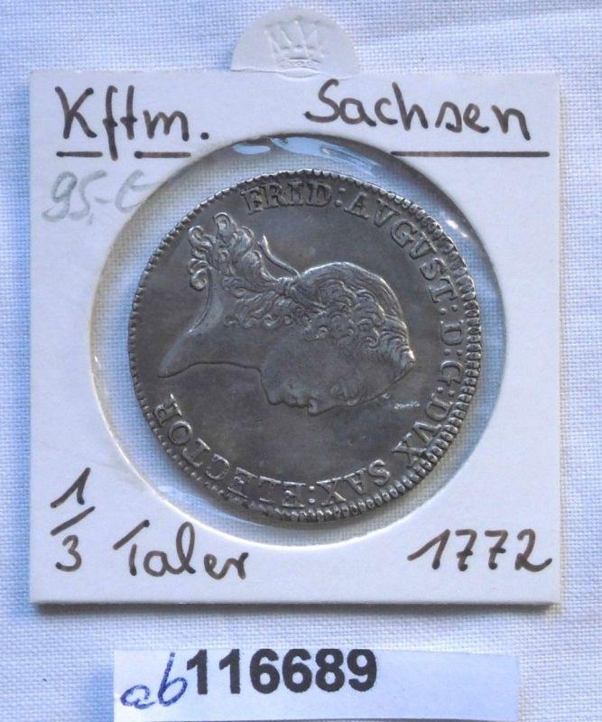 2/3 Taler Silber Münze Kurfürstentum Sachsen Friedrich August III 1772 (116689)