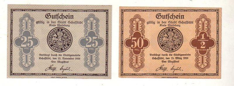 2 Banknoten 25 und 50 Pfennig Notgeld Stadt Schafstädt 1920 (115609)