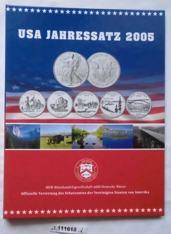 Usa Jahressatz Mit Silver Eagle Und 5 X 25 Cent 2005 Im Etui 111618