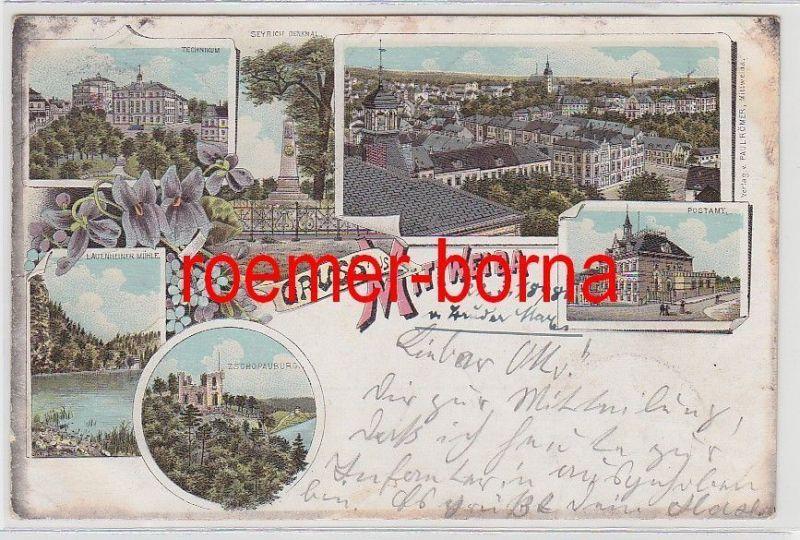 74409 Ak Lithografie Gruss aus Mittweida Technikum, Post usw. 1898