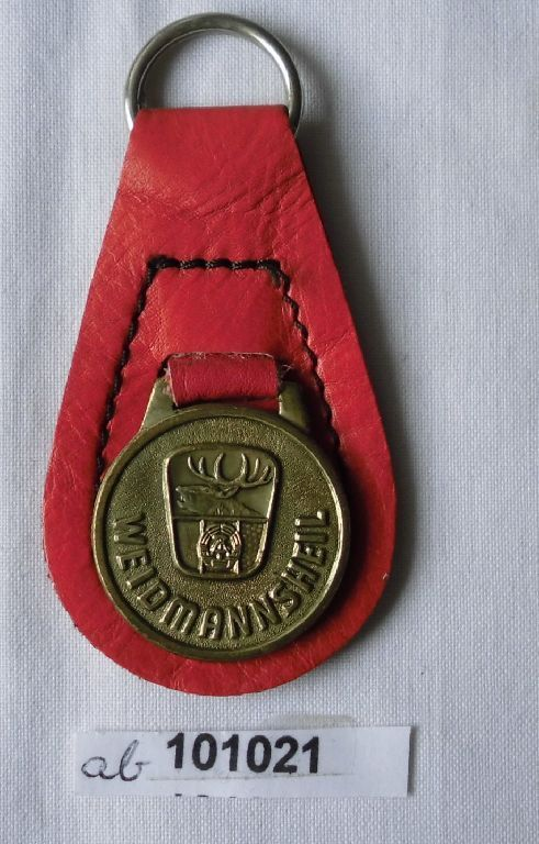 Schlüsselanhänger mit Plakette Weidmannsheil Jagdgesellschaften der DDR (101021)