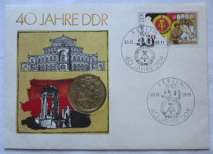 107473 Numisbrief 40 Jahre DDR mit 10 Mark Münze DDR von 1989