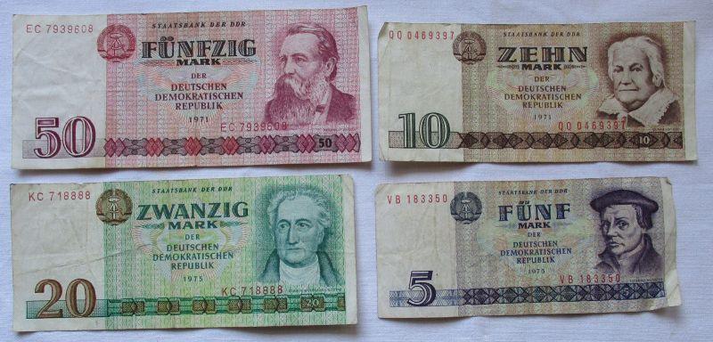 4 Banknoten DDR 1971-1975, 5, 10 20 und 50 Mark (102287)
