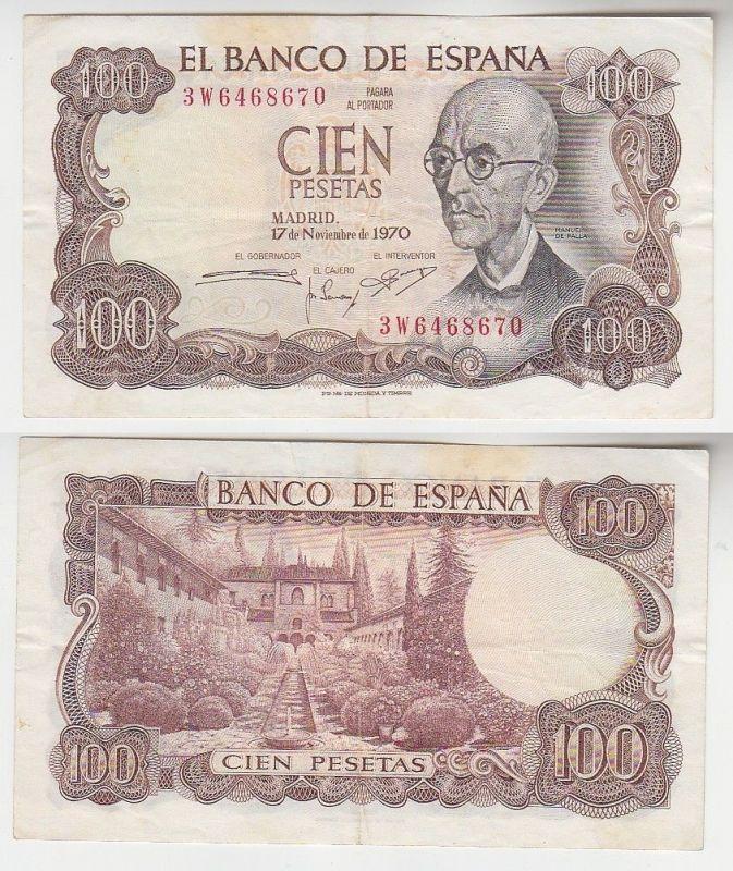 100 Peseta Banknote Spanien 17.11.1970 (115851)