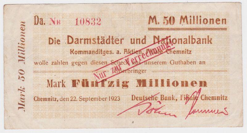50 Millionen Mark Banknote Darmstädter & Nationalbank Chemnitz 22.9.1923(116743)