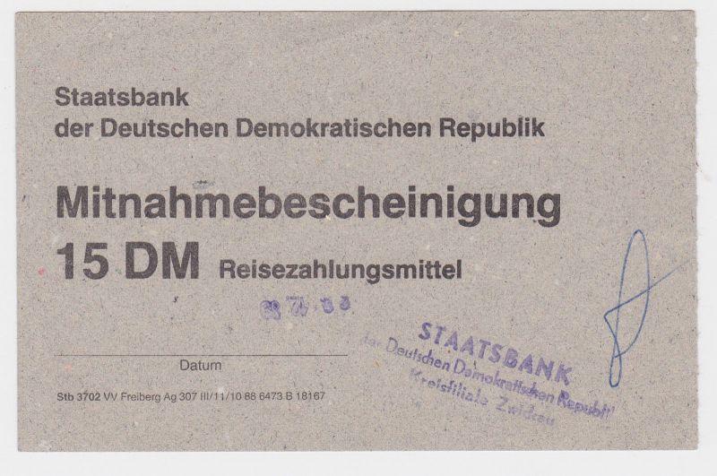 15 DM Reisezahlungsmittel Mitnahmebescheinigung DDR 1989 (118950)