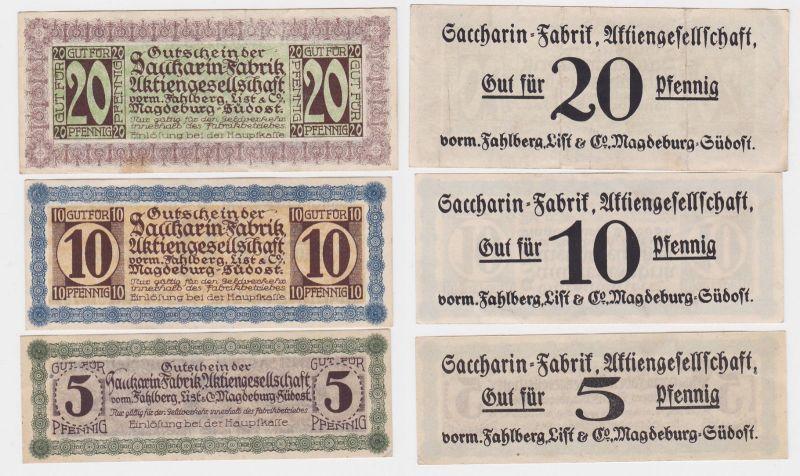 5,10 & 20 Pf Banknote Notgeld Sacharin Fabrik Magdeburg v.Fahlberg List (116094)