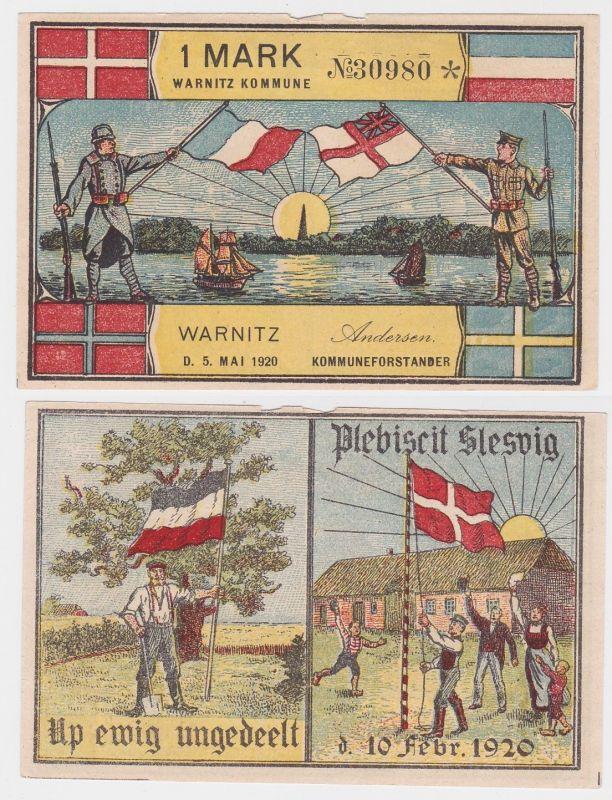 1 Mark Banknote Notgeld Gemeinde Kommune Warnitz Dänemark 1920 (118969)