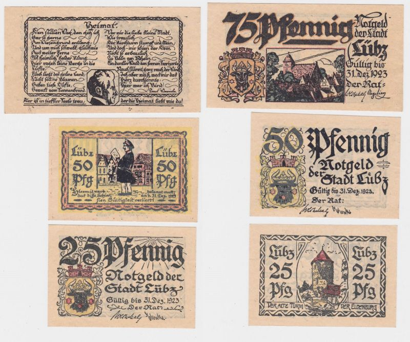 3 Banknoten Notgeld Stadt Lübz ohne Datum -31.12.1923 (117899)