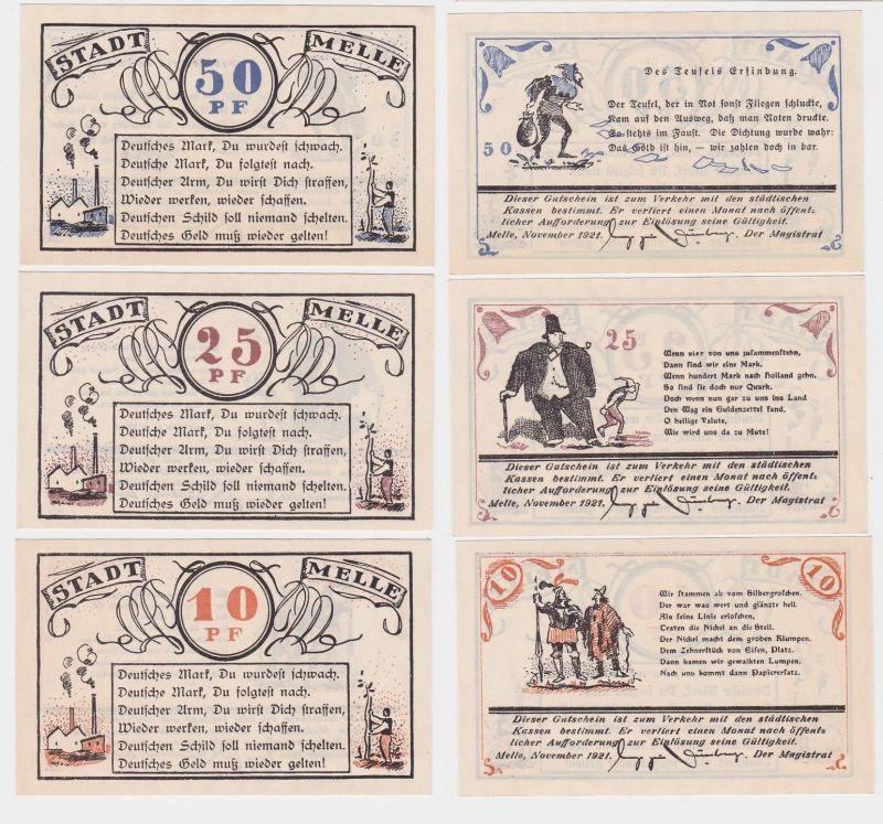 3 Banknoten Notgeld Stadt Melle 1921 (114504)