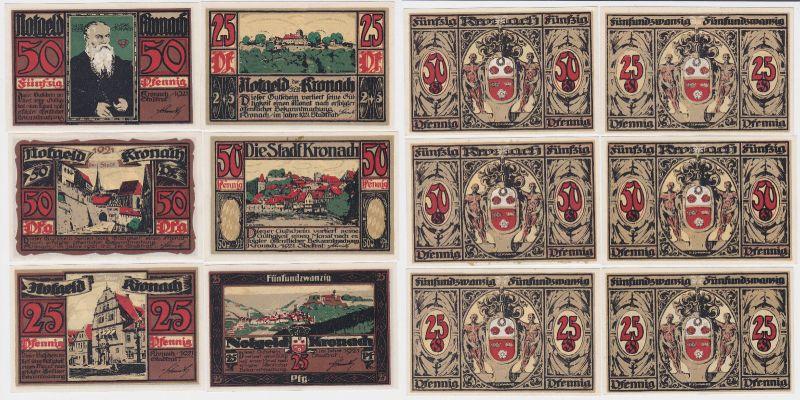 6 Banknoten Notgeld Stadt Kronach 1921 (115979)