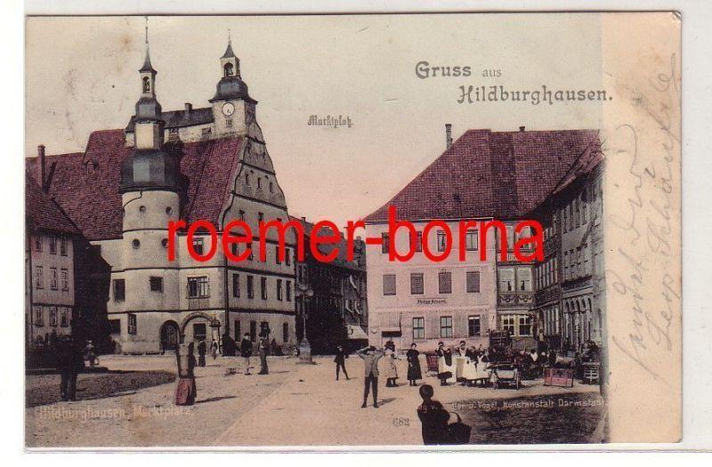 65812 Ak Gruss aus Hildburghausen Marktplatz mit Restaurant Englischer Hof 1900