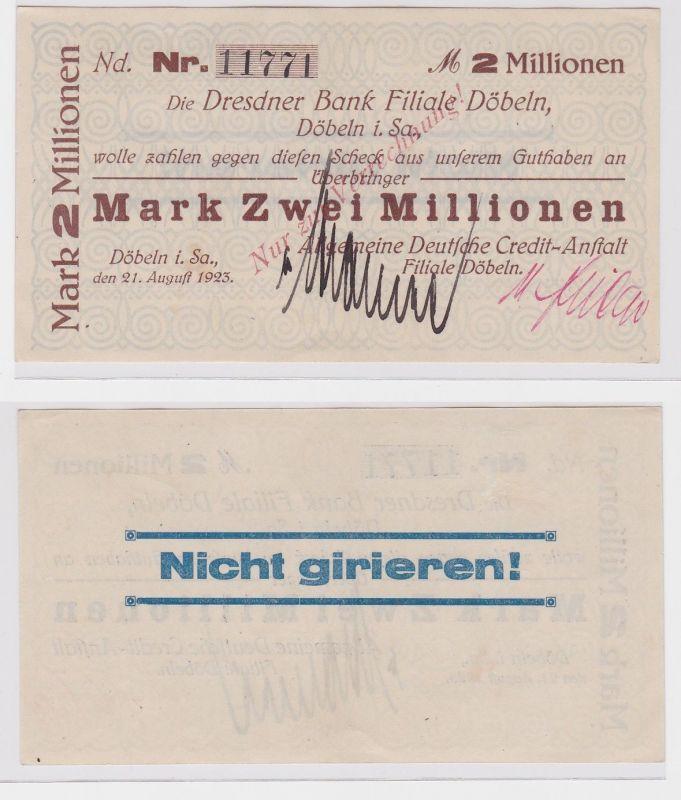 2 Millionen Mark Banknote allg.dt.Credit Anstalt Döbeln 21.August 1923 (121477)
