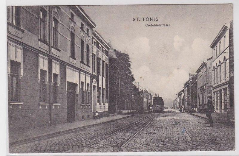 82815 Ak St.Tönis Crefelderstrasse mit Strassenbahn 1907