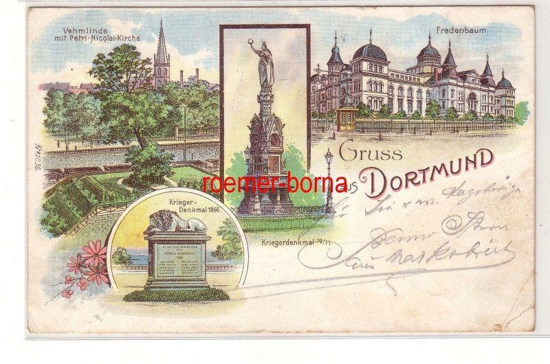 69131 Ak Lithografie Gruss aus Dortmund Fredenbaum, Kriegerdenkmal usw. 1901