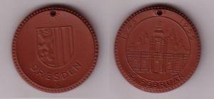 Porzellan Medaille Dresden 10. Jahrestag der Zerstörung 1945-1955 (115871)