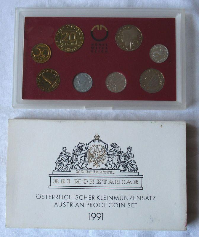 Seltener Kursmünzensatz Österreich 1991 PP in Originalverpackung (109246)