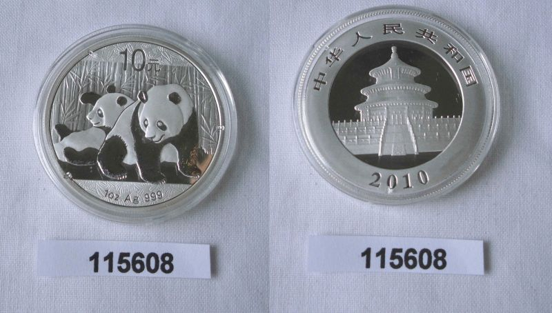 10 Yuan Silber Münze China Panda 1 Unze Feinsilber 2010 Stgl. (115608)
