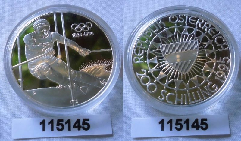 200  Silber Münze Österreich Olympiade 1996 Atlanta 1995 (115145)