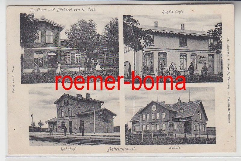 73286 Mehrbild Ak Behringstedt Kaufhaus, Bäckerei, Café, Bahnhof, Schule 1907