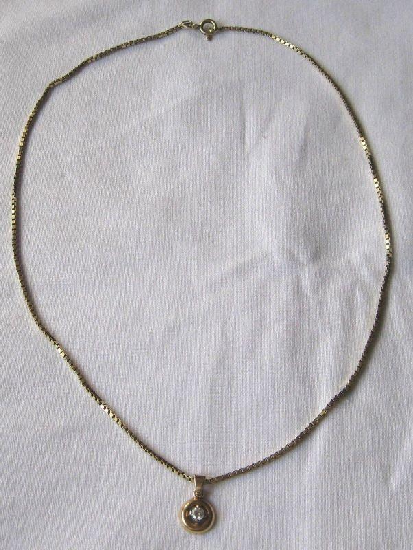 Charmante 585er Gold Kette mit toll geschliffenem Diamant Anhänger (120073)