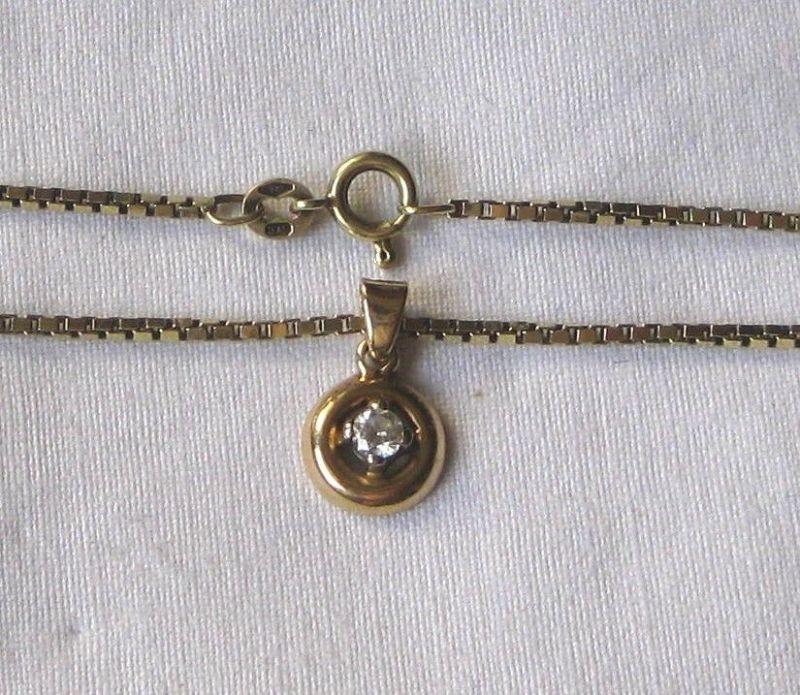 Charmante 585er Gold Kette mit toll geschliffenem Diamant Anhänger (120073) 1