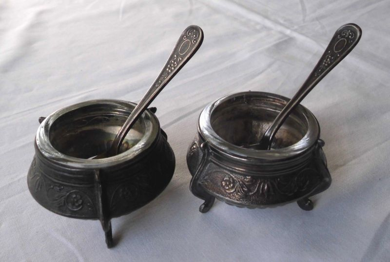 Antike Senftöpchen Senfdöschen Jugendstil Silber? mit Servierlöffel (105785)