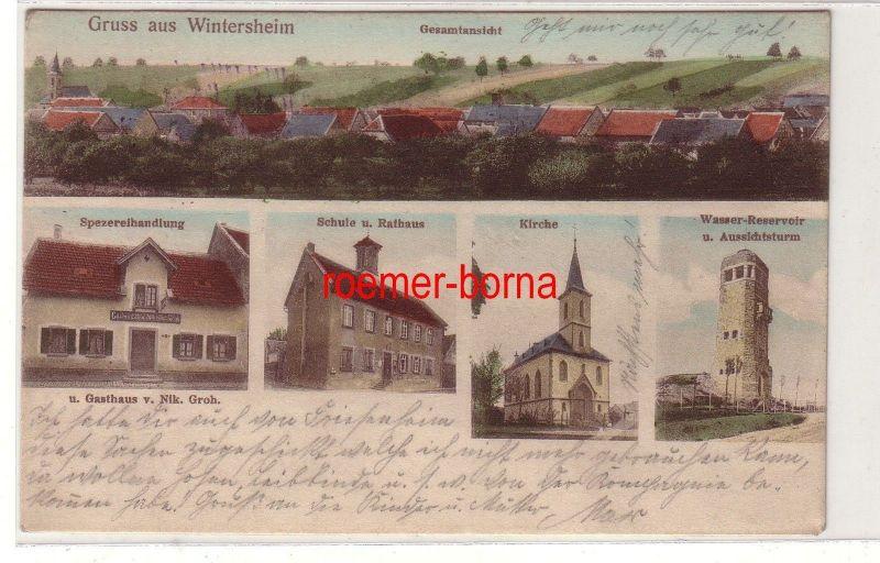 80135 Mehrbild Ak Gruss aus Wintersheim Spezereihandlung, Wasserturm usw. 1914