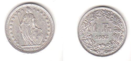 1 Franken Silber Münze Schweiz 1952 B 112796 Nr 332655231528