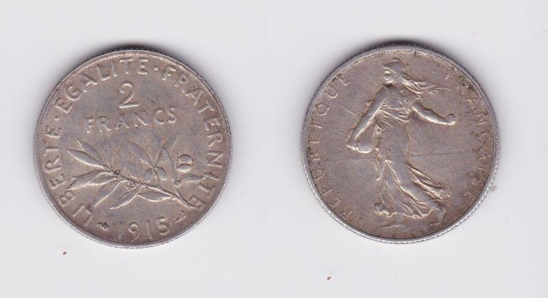 2 Franc Silber Münze Frankreich 1915 (124389)