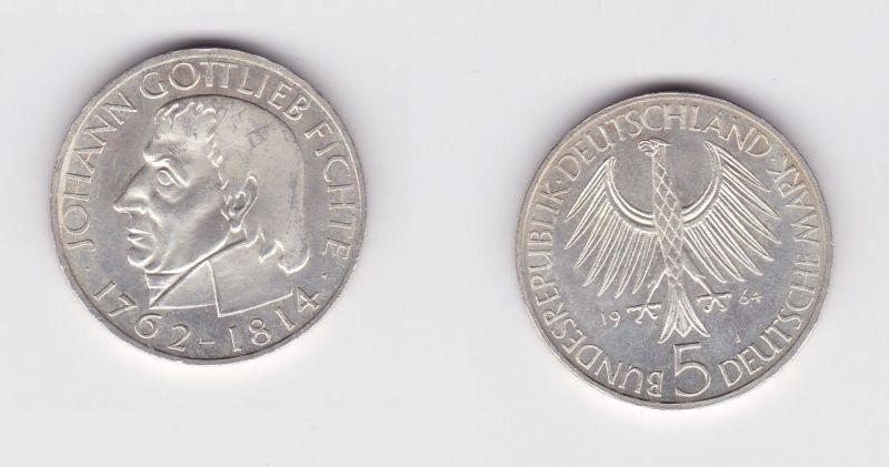 5 Mark Silber Münze Deutschland Johann Gottlieb Fichte 1964 J (124392)