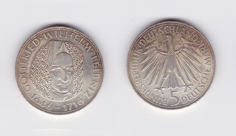 5 Mark Silber Münze Deutschland Gottfried Wilhelm Leibniz 1966 D (124394)