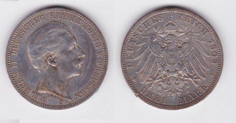 3 Mark Silber Münze Preussen Kaiser Wilhelm II 1909 (124445)