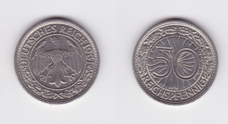50 Pfennig Nickel Münze Weimarer Republik 1931 A 124556 Nr