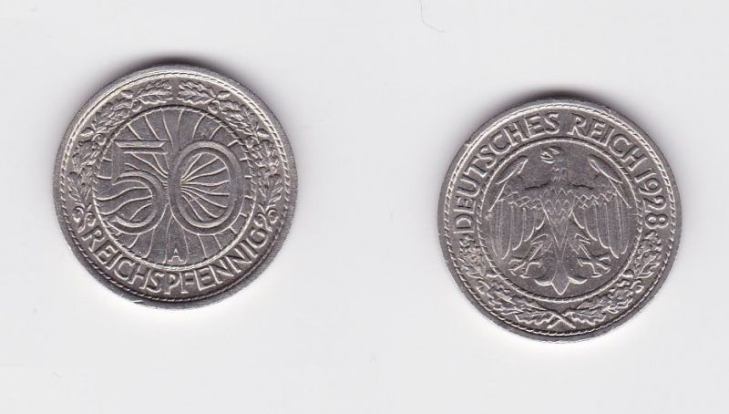 50 Pfennig Nickel Münze Weimarer Republik 1928 A 124468 Nr