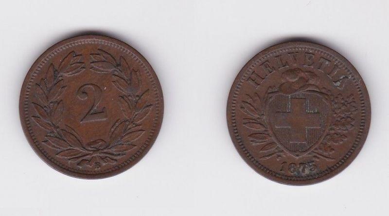 2 Rappen Kupfer Münze Schweiz 1875 B (124440)
