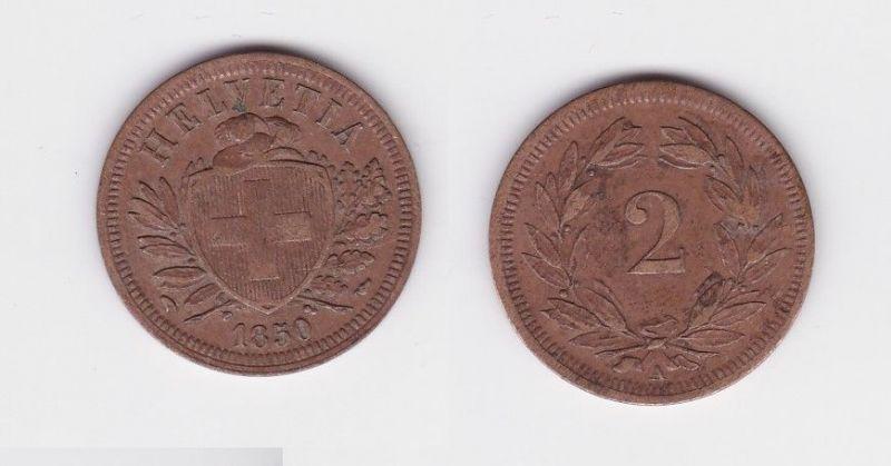 2 Rappen Kupfer Münze Schweiz 1850 A (124689)