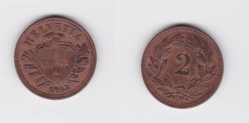 2 Rappen Kupfer Münze Schweiz 1893 B (124474)