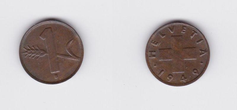 1 Rappen Kupfer Münze Schweiz 1949 B (124475)