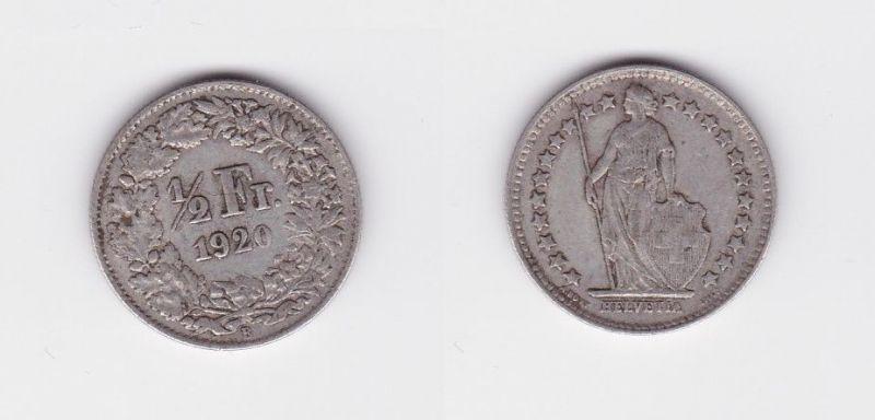 1/2 Franken Silber Münze Schweiz 1920 B (124428)