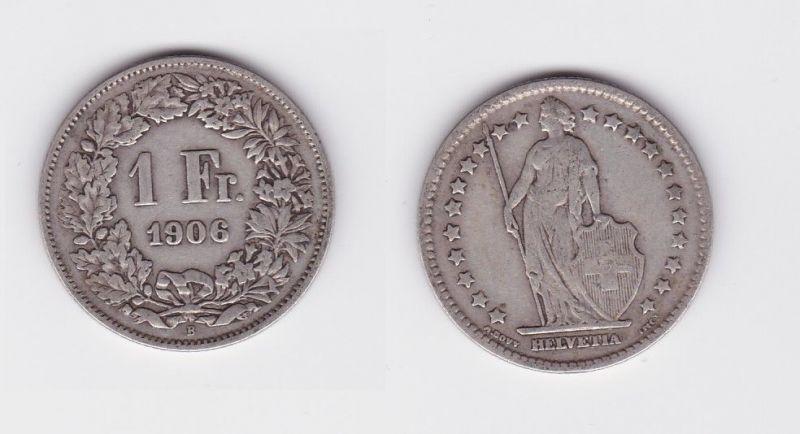 1 Franken Silber Münze Schweiz 1906 B (124545)
