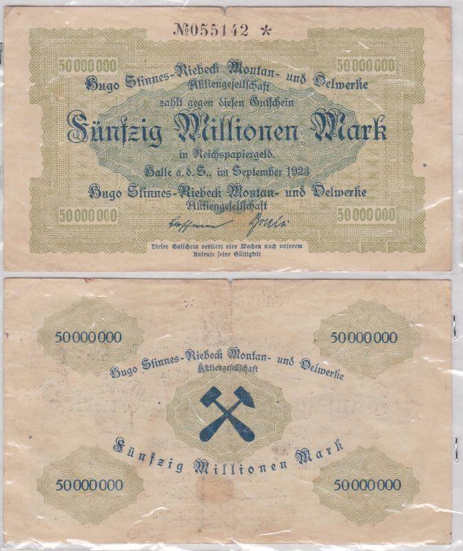 50 Millionen Mark Banknote Halle Hugo Stinnes Riebeck Montan 1923 (120581)