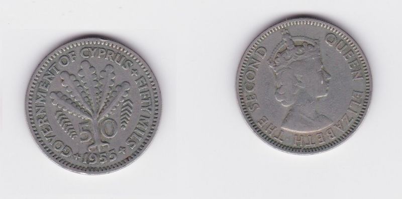 50 Mils Kupfer Nickel Münze Zypern 1955 124539 Nr 232836871781