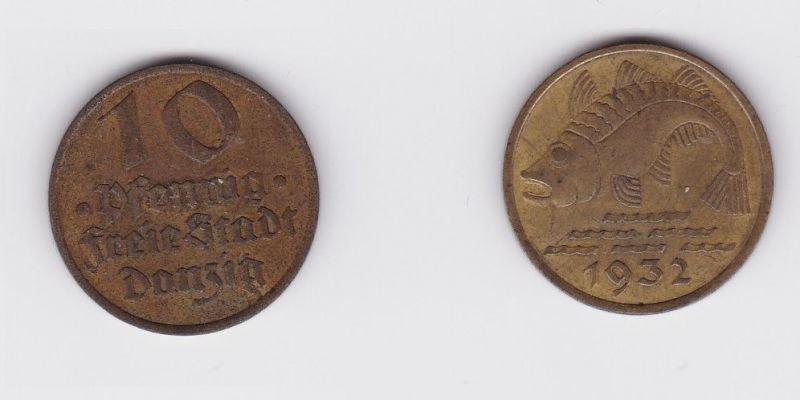 10 Pfennig Messing Münze Danzig 1932 Dorsch Jäger D 13 (124505)