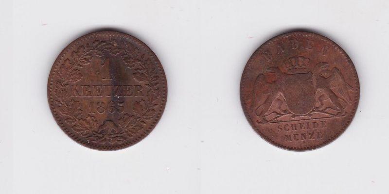 1 Kreuzer Bronze Münze Baden 1865 (124401)