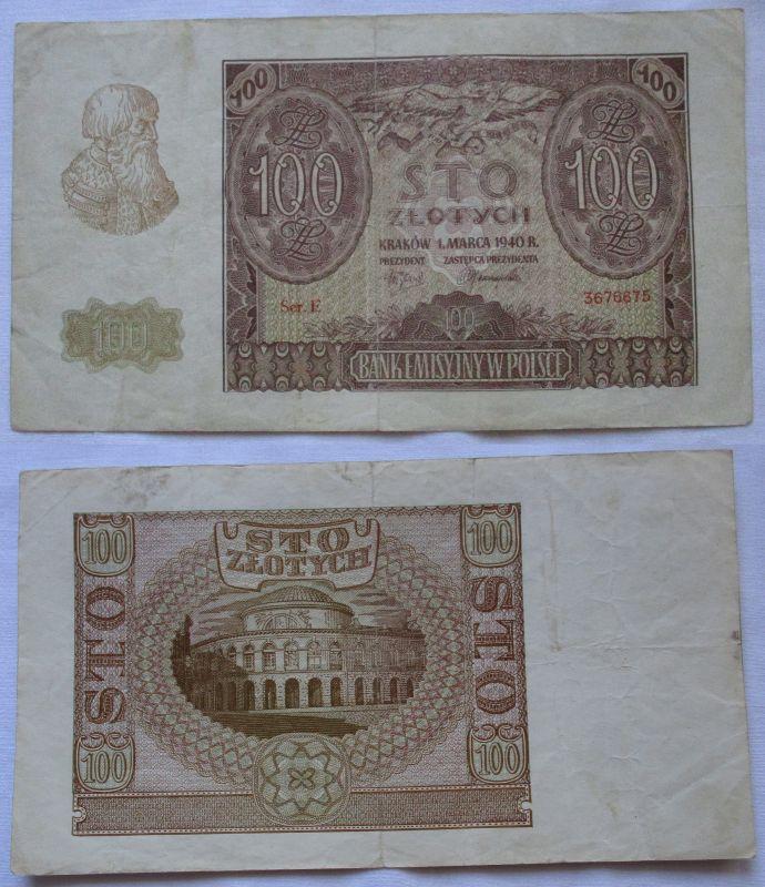 100 Zloty Banknote Polen Krakow Krakau 1.März 1940 (109832)
